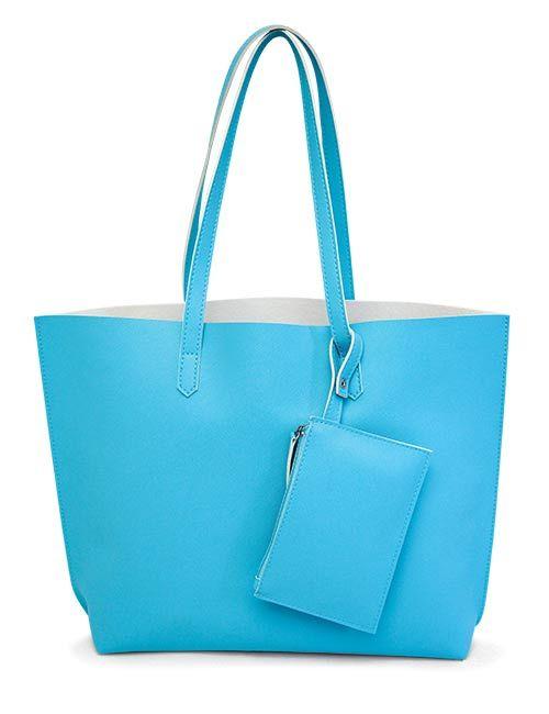 Le sac cabas turquoise et sa pochette